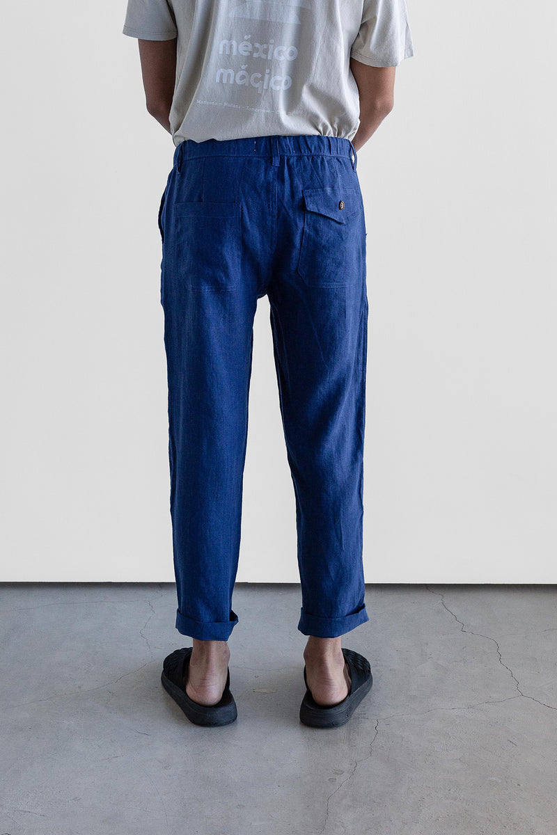 Manyana Unisex Pant Linen Kalach Navy Look Book Male Back Detail
