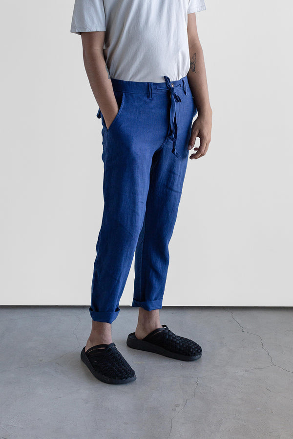 Manyana Unisex Pant Linen Kalach Navy Look Book Male Front Detail