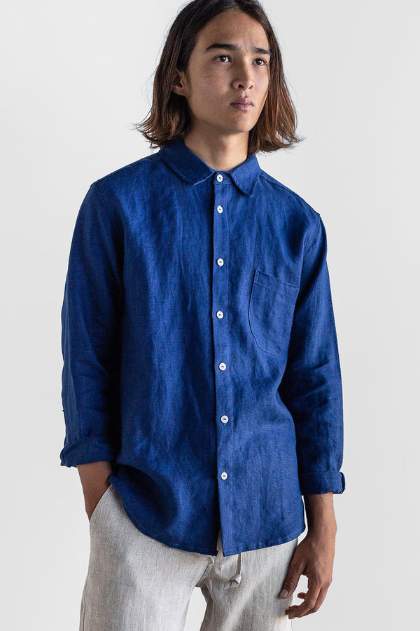 Manyana Shirt Linen Espadin Navy Look Book Male Front