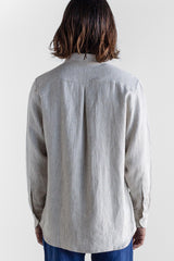 Manyana Unisex Shirt Linen Espadin Oatmeal Look Book Female Back