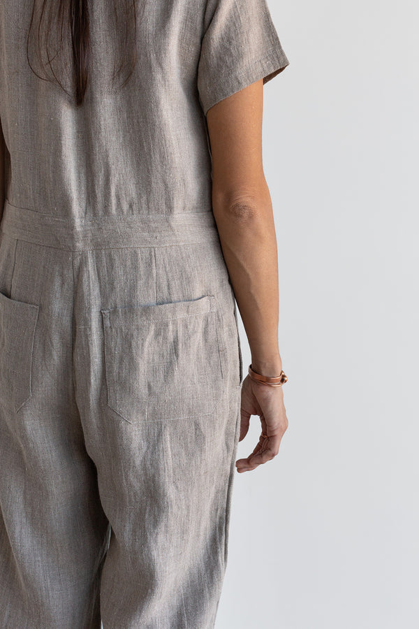 Manyana Womens Linen Jump Suit Jabali Natural Look Book Female Back Detail