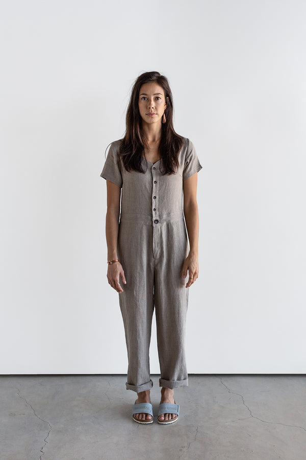 Manyana Womens Linen Jump Suit Jabali Natural Look Book Female Front Full Length