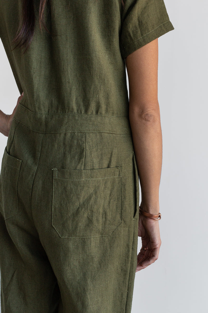 Manyana Womens Linen Jump Suit Jabali Olive Look Book Back Detail