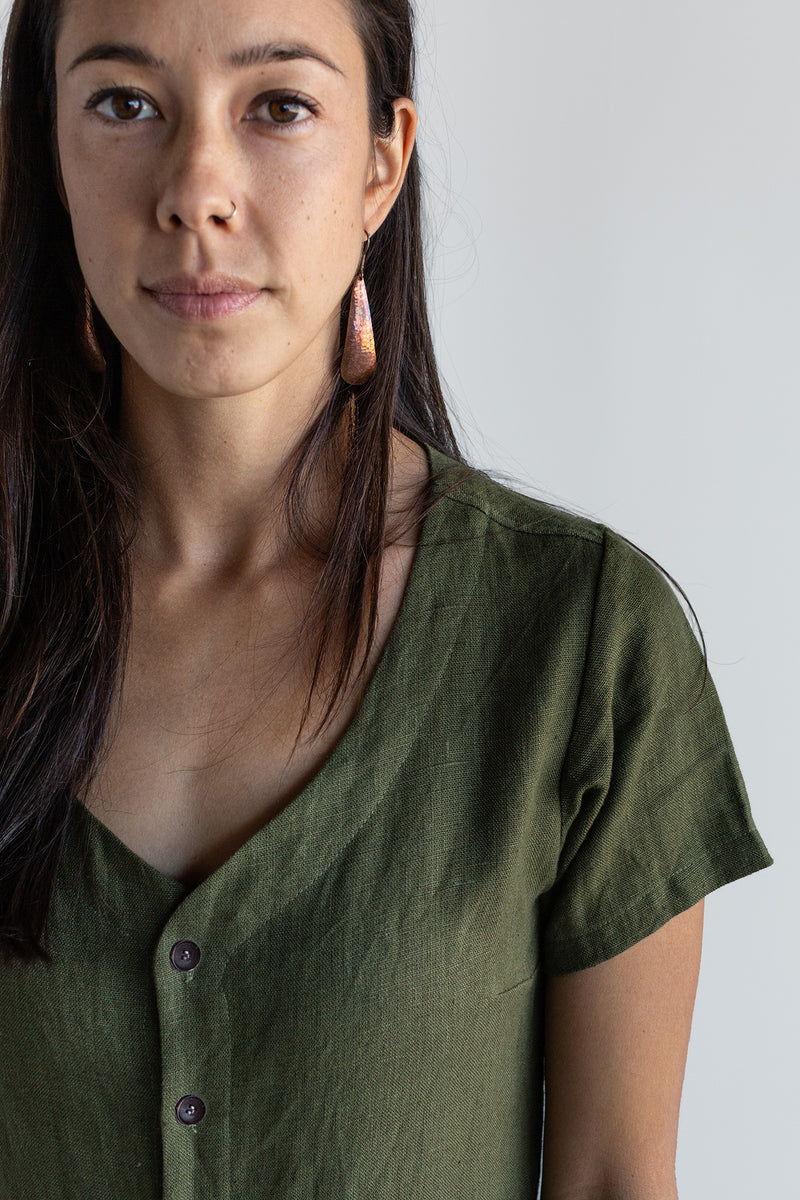 Manyana Womens Linen Jump Suit Jabali Olive Look Book Front Detail