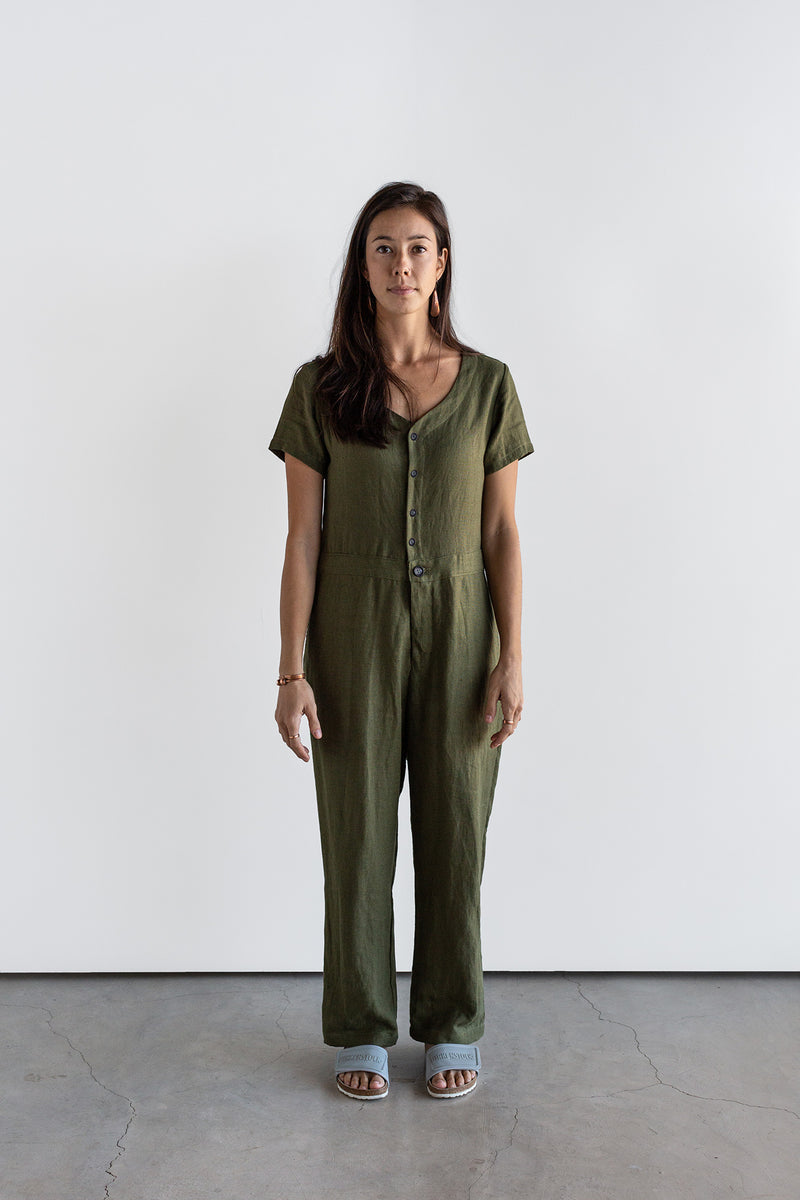 Manyana Womens Linen Jump Suit Jabali Olive Look Book Front Full Length