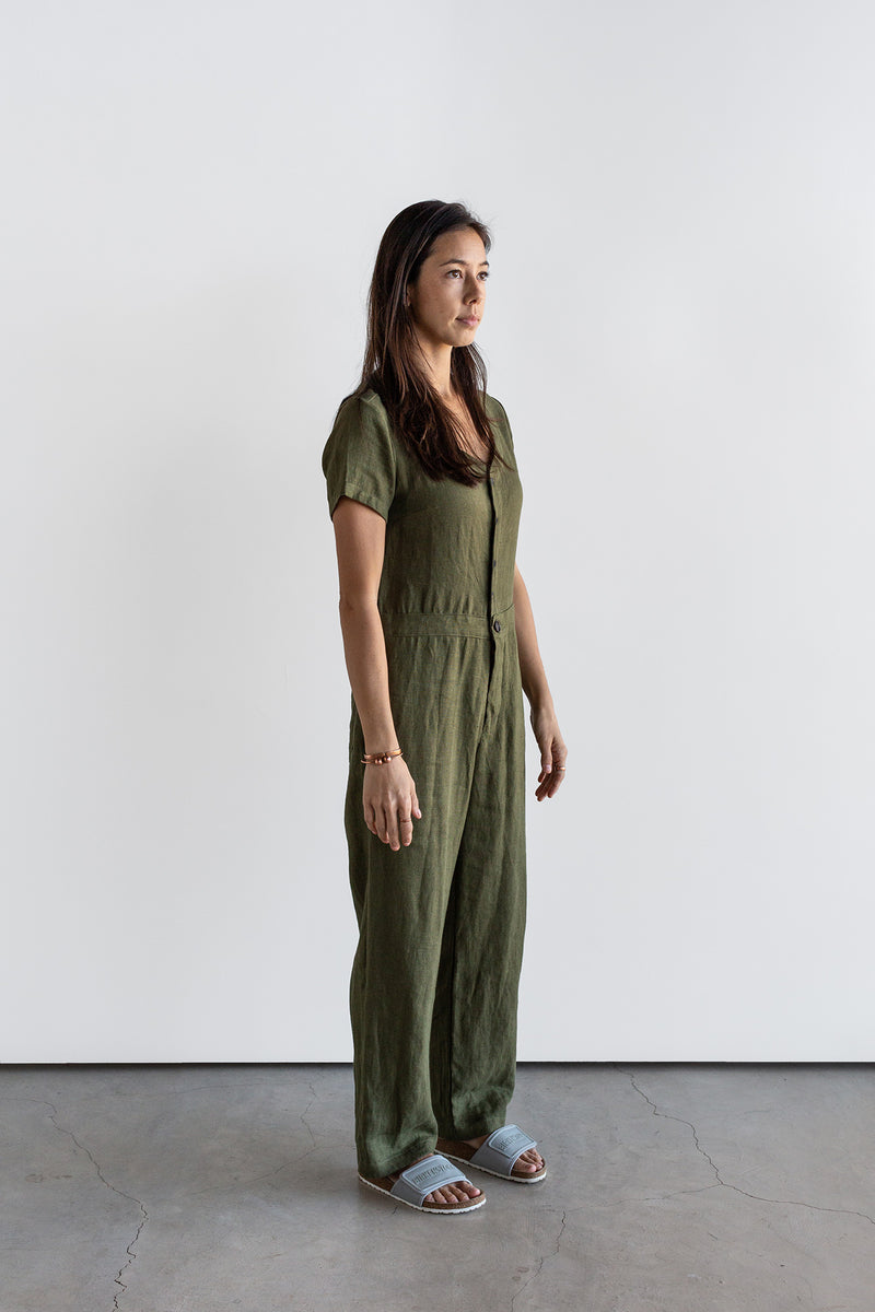 Manyana Womens Linen Jump Suit Jabali Olive Look Book Front quarter turn