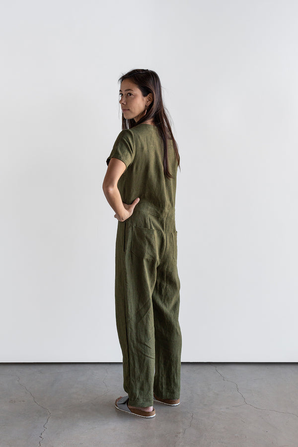 Manyana Womens Linen Jump Suit Jabali Olive Look Book Back Full Length