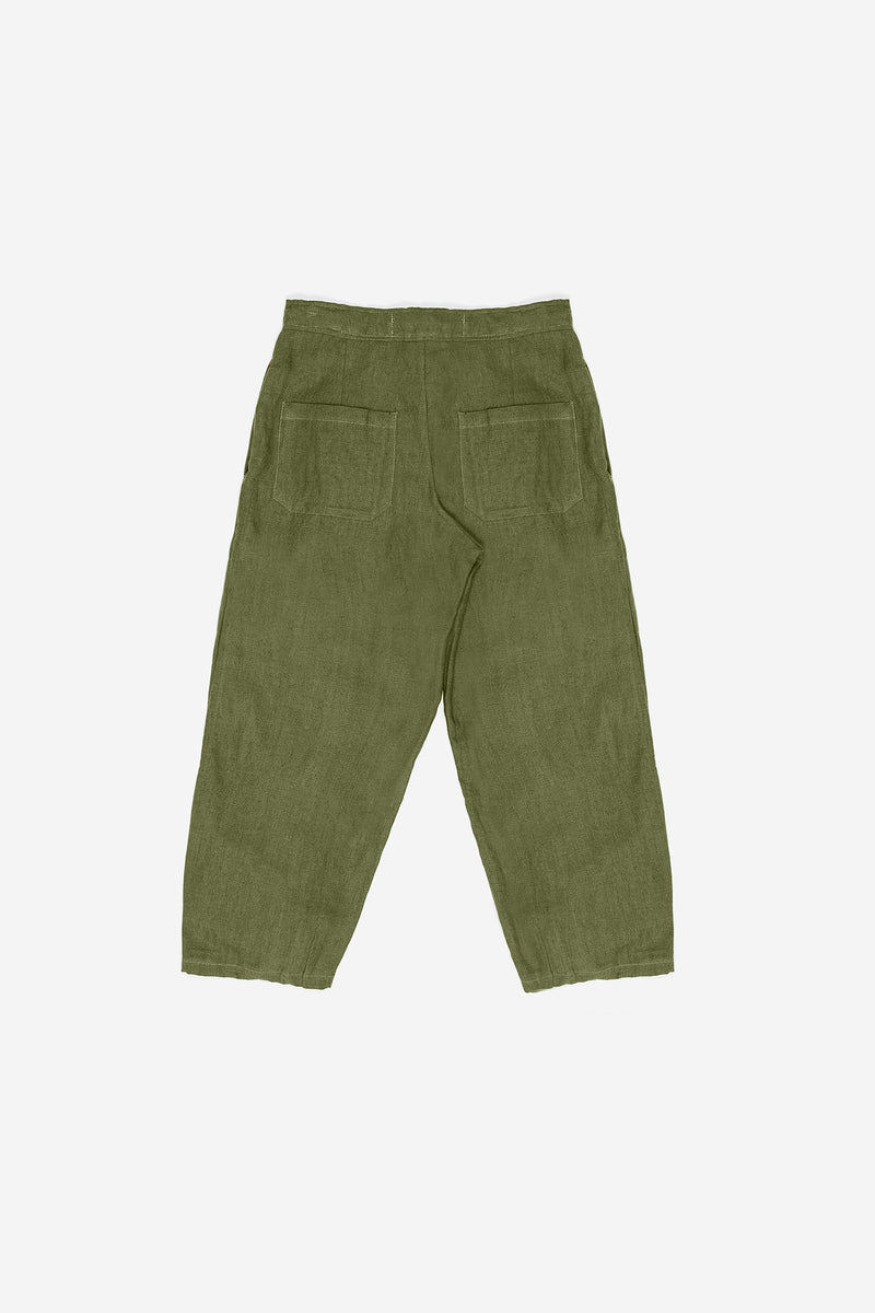 Manyana Womens Bottom Pant Linen Lumbre Olive Back