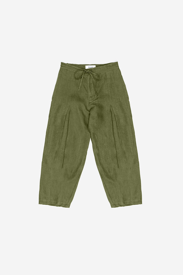 Manyana Womens Bottom Pant Linen Lumbre Olive Front