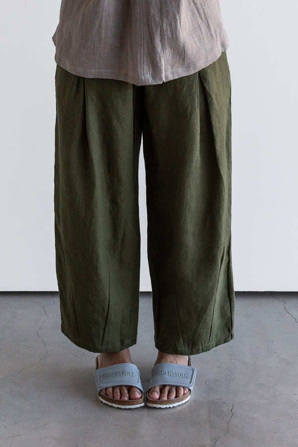 Manyana Womens Bottom Pant Linen Lumbre Olive Look Book Female Front Detail