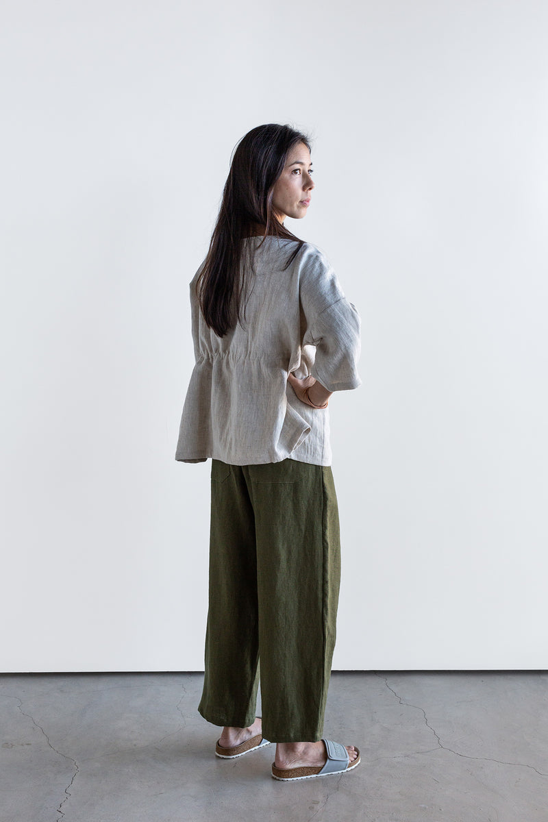 Manyana Womens Bottom Pant Linen Lumbre Olive Look Book Female Back Full length