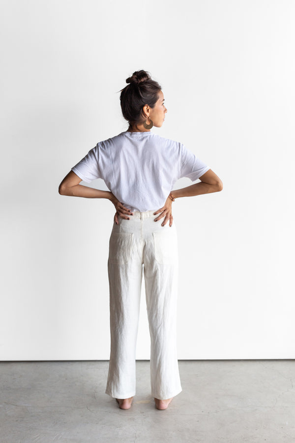 Manyana Womens Pant Tobaziche Ecru Look Book Back