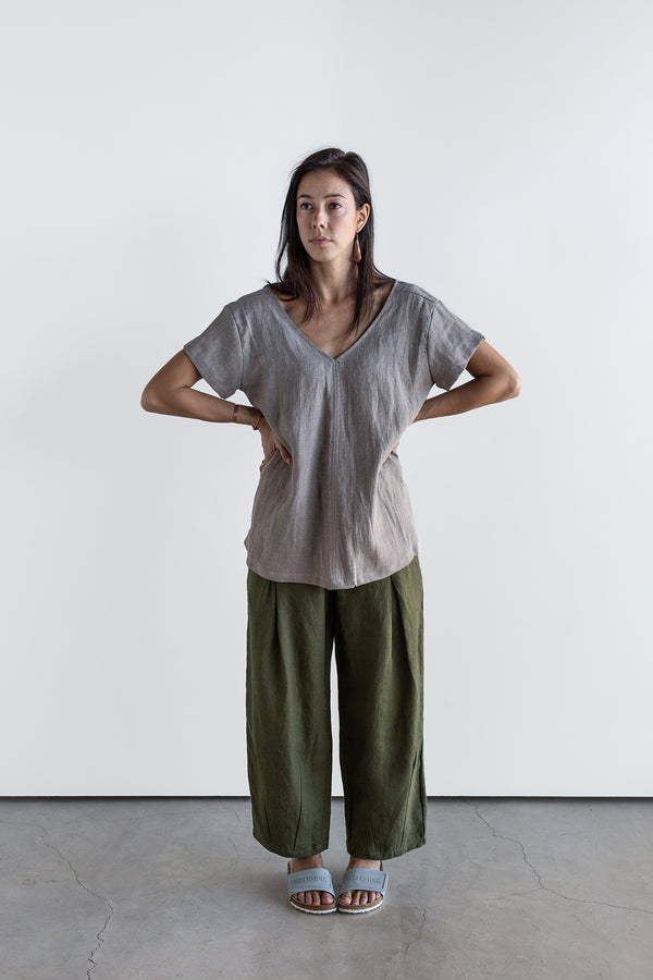Manyana Womens Top Shirt Linen Cuishe Natural Look Book Female Front Full Length
