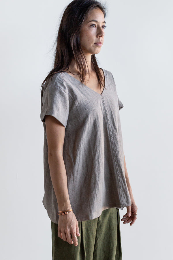 Manyana Womens Top Shirt Linen Cuishe Natural Look Book Female Front