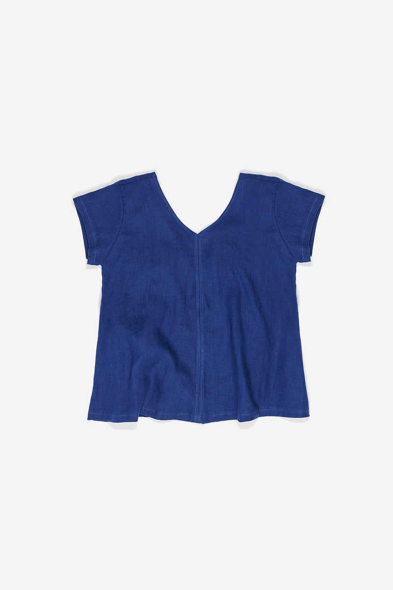 Manyana Womens Top Shirt Linen Cuishe Navy Front