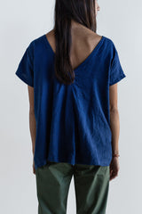 Manyana Womens Top Shirt Linen Cuishe Navy Look Book Female Back Detail