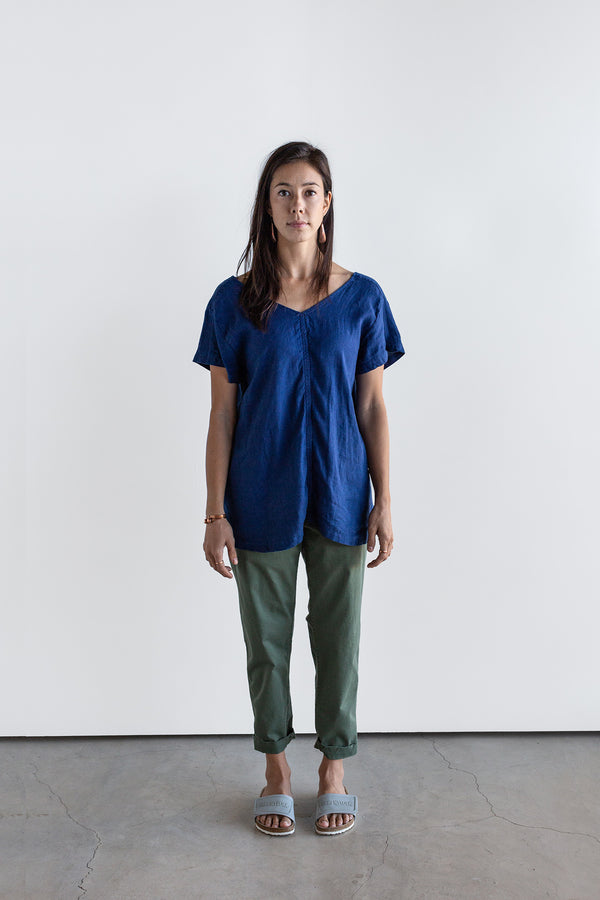 Manyana Womens Top Shirt Linen Cuishe Navy Look Book Female Front Full length