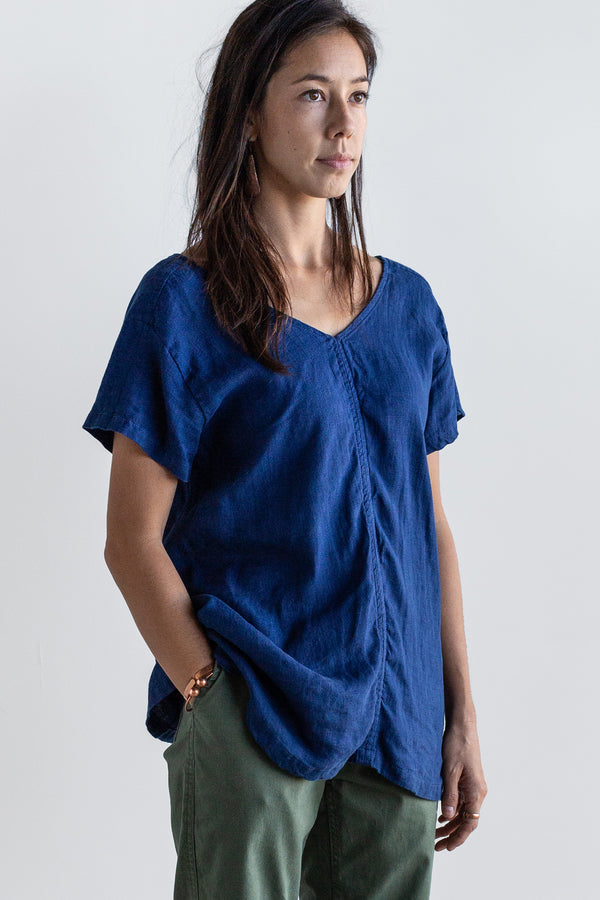 Manyana Womens Top Shirt Linen Cuishe Navy Look Book Female Front Detail