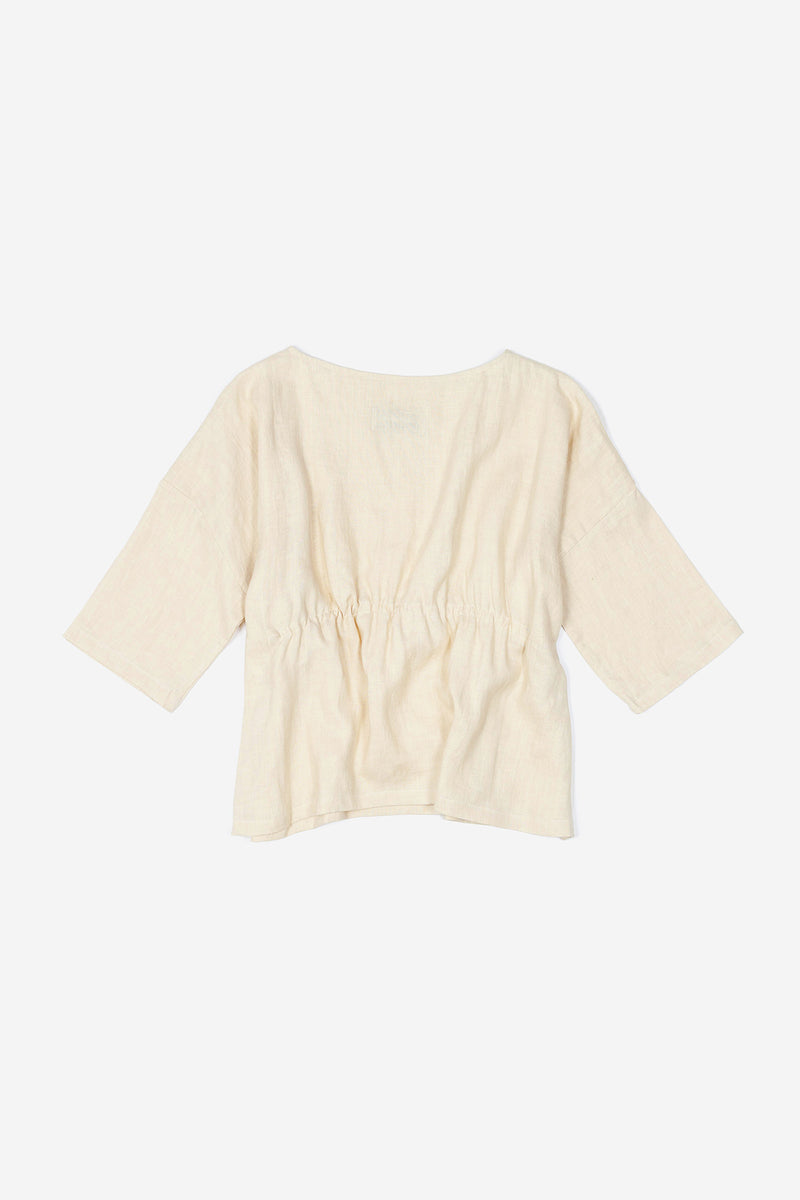 Manyana Womens Top Shirt Linen Cupreata Eggshell Back