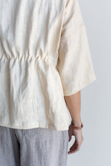 Manyana Womens Top Shirt Linen Cupreata Eggshell Look Book Female Back Detail