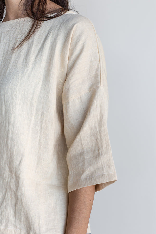 Manyana Womens Top Shirt Linen Cupreata Eggshell Look Book Female Sleeve Detail