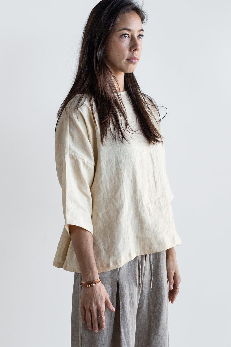 Manyana Womens Top Shirt Linen Cupreata Eggshell Look Book Female Front