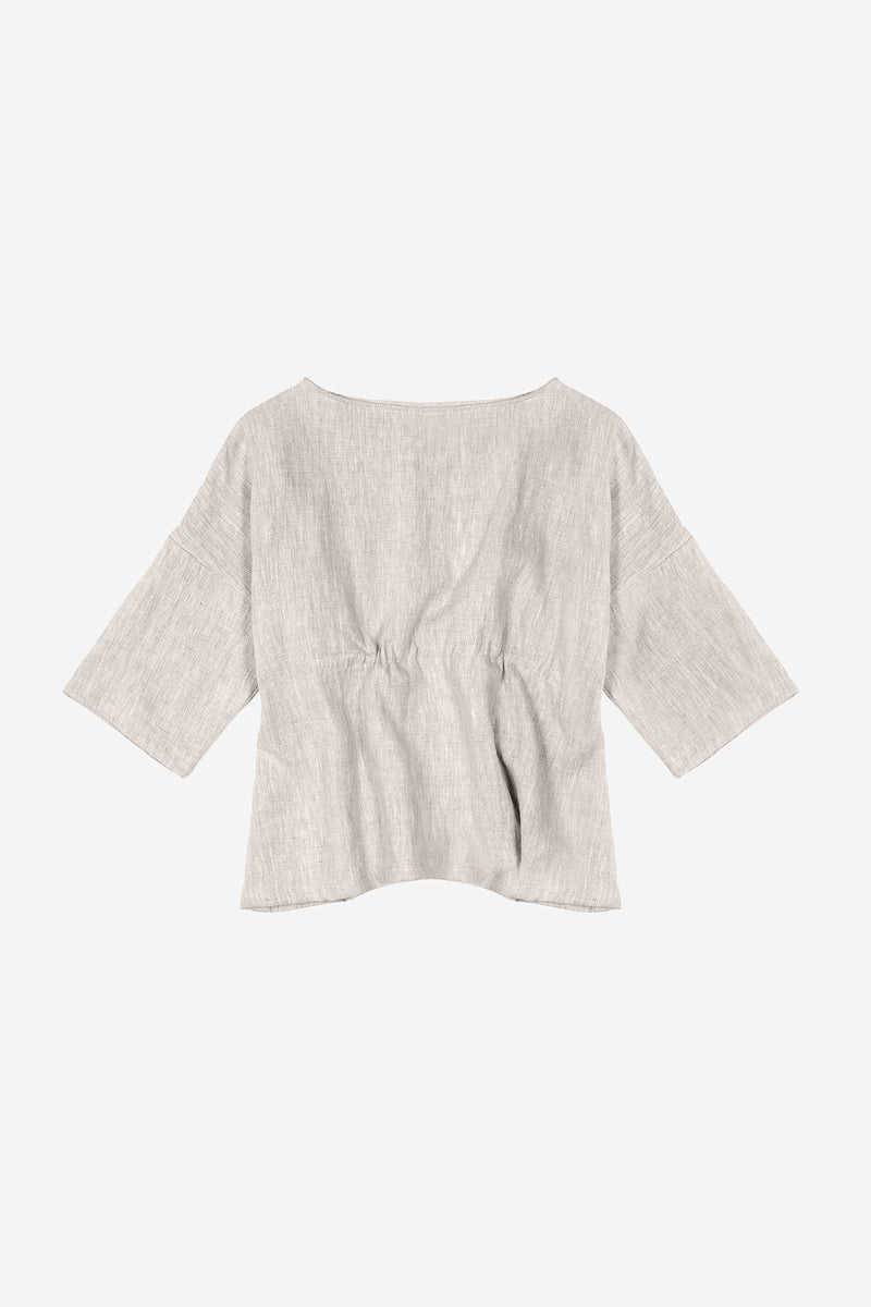 Manyana Womens Top Shirt Linen Cupreata Oatmeal Back
