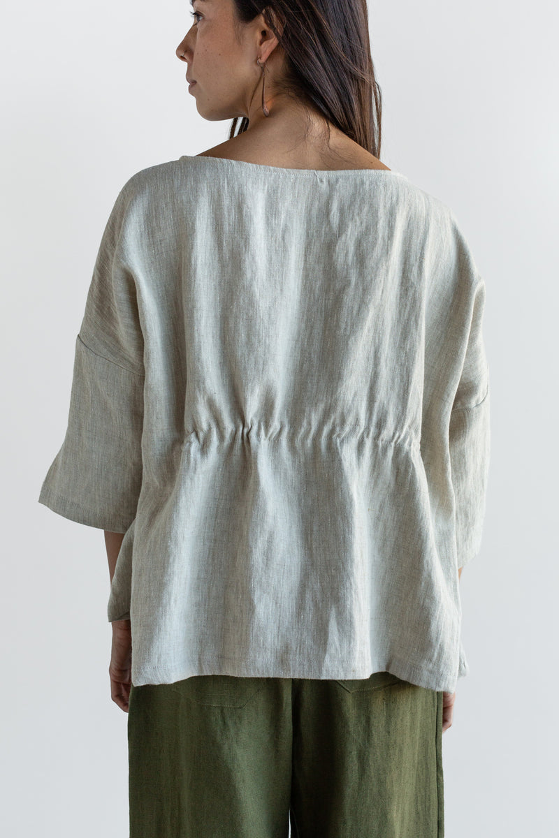 Manyana Womens Top Shirt Linen Cupreata Oatmeal Look Book Female Back