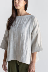 Manyana Womens Top Shirt Linen Cupreata Oatmeal Look Book Female Front Detail