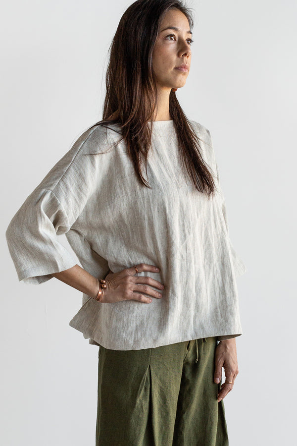Manyana Womens Top Shirt Linen Cupreata Oatmeal Look Book Female Front