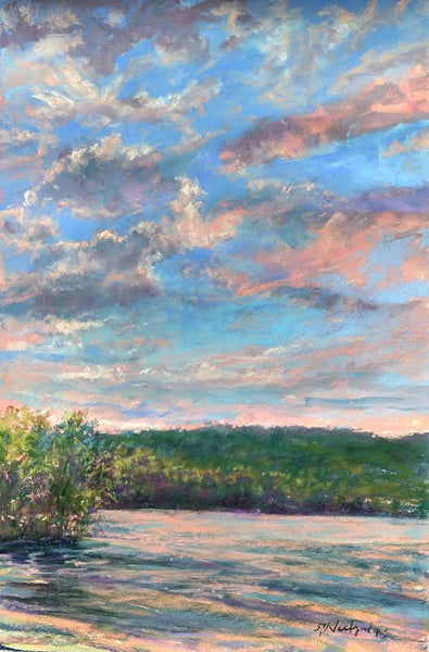 Susan Gephart Tranquil Sunset  17x11 pastel on Multimeda Artboard,
