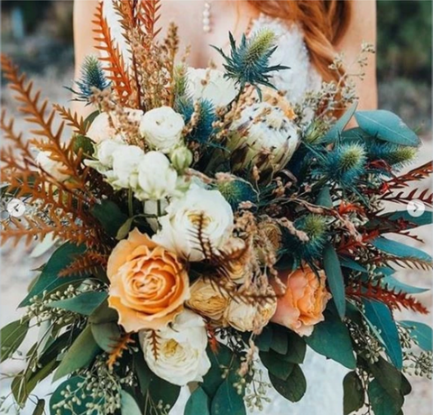 teal bohemian bridal bouquet