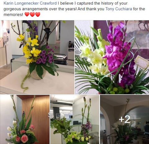 Birthday flowers sent over the years