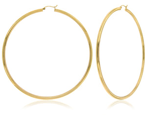 """The Lucy"" Classic and Sleek 14k Yellow Gold Hoop Earrings"