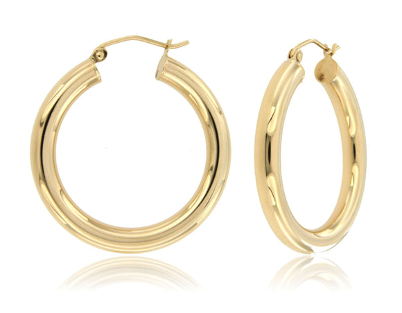 Bold and Sleek 14k Yellow Gold Hoop Earrings ⊶Various Sizes Available⊷