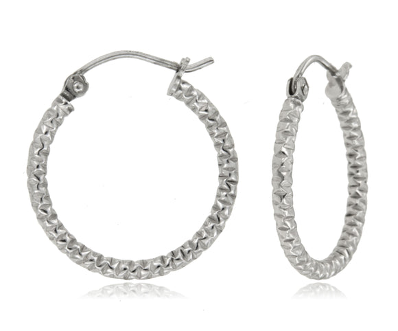 Crunched Texture 925 Sterling Silver Hoops
