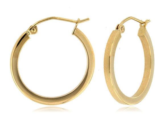 Classic and Sleek Square Tube 14k Yellow Gold Hoop Earrings ⊶Various Sizes Available⊷