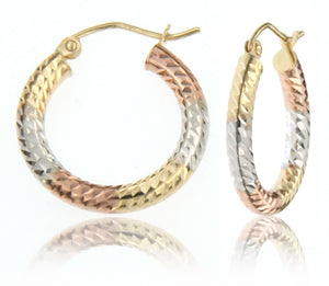 Classic and Dazzling Color-Blocked 14k Tricolor Gold Hoop Earring