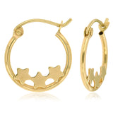 Happy Stars 10k Yellow Gold Hoop Earrings ☉Micro Collection☉