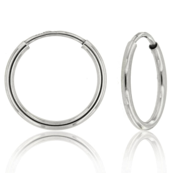 Everyday Infinity 14k White Gold Hoop Earrings ⊶Various Sizes Available⊷ ☉Micro Collection☉