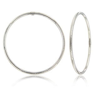 Texture Blocked 14k White Gold Bangle