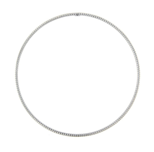 trendy 14k white gold cable rope style bangle