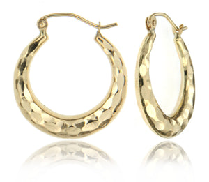Hammered Style Tapered 14k Yellow Gold Hoop Earrings