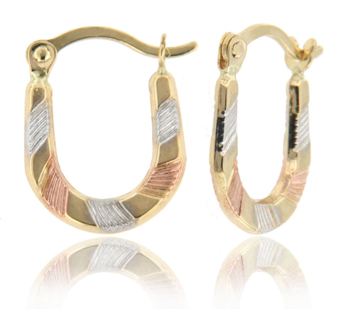 """U"" Shaped Micro Hoop 14k Tricolor Gold"