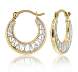 Rock Stud Micro Hoop 14k Two Tone Gold Earrings