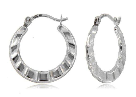 Ocean Waves 14k White Gold Hoop Earrings