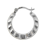 Ruffle 14k White Gold Hoop Earrings
