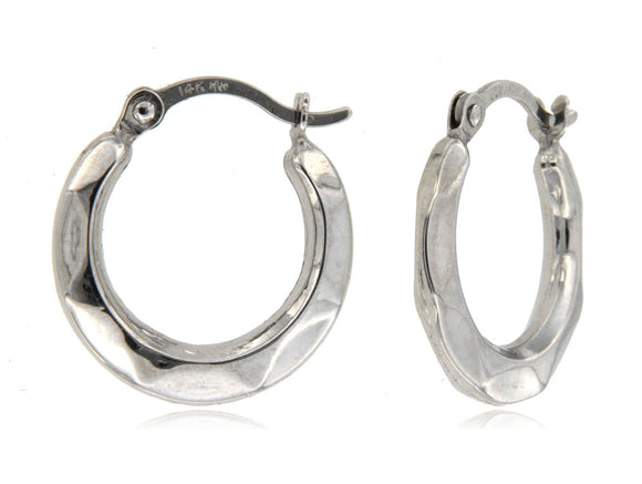 Subtle Detailed 14k White Gold Hoop Earrings ☉Micro Collection☉