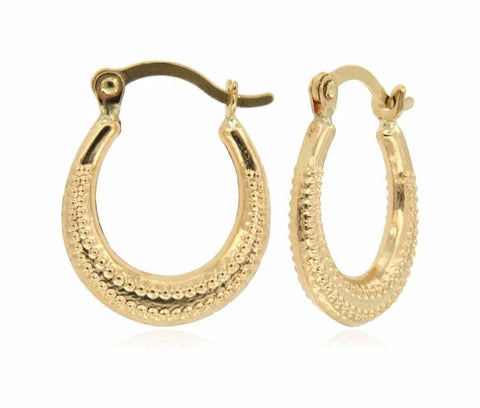 Oval Shaped Caviar Bead Micro Hoop 14k Yellow Gold