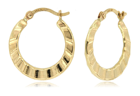Ocean Waves 14k Yellow Gold Hoop Earrings
